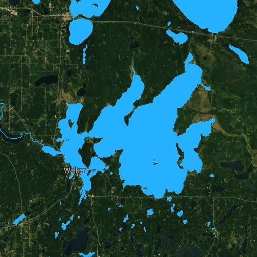 Fly fishing map for Leech Lake, Minnesota