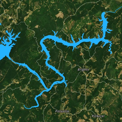 Fly fishing map for Leesville Lake, Virginia
