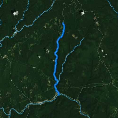 Fly fishing map for Left Branch Young Womans Creek, Pennsylvania