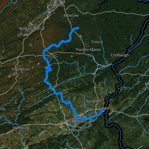 Fly fishing map for Lehigh River, Pennsylvania