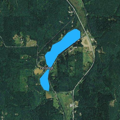 Fly fishing map for Leland Lake, Washington