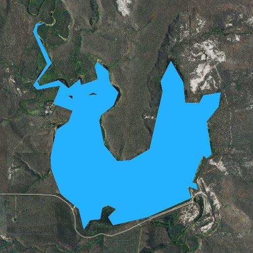 Fly fishing map for Lemmon Lake, South Dakota