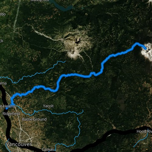 Fly fishing map for Lewis River, Washington