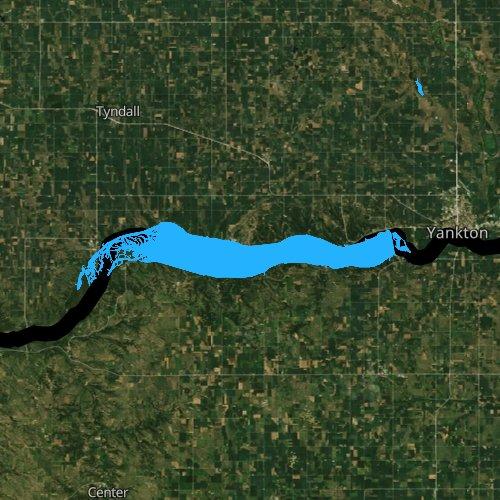 Fly fishing map for Lewis and Clark Lake, Nebraska