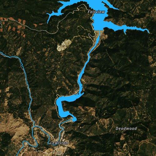 Fly fishing map for Lewiston Lake, California