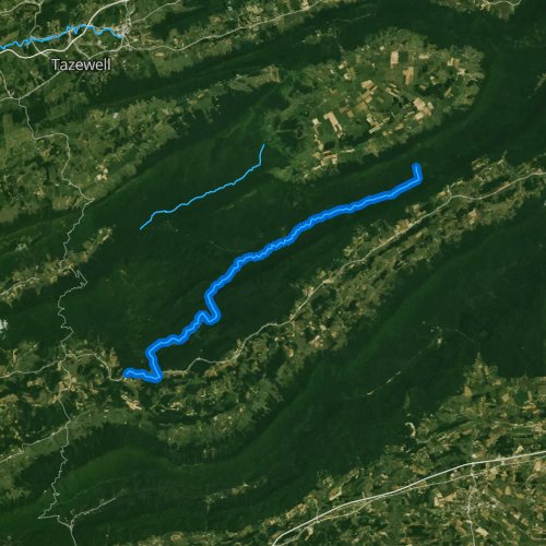 Fly fishing map for Lick Creek, Virginia