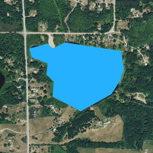 Fly fishing map for Lim Lake, Michigan