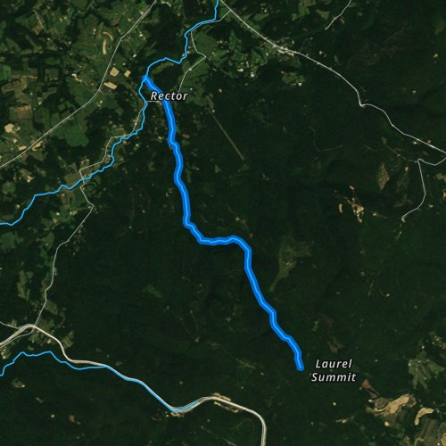 Fly fishing map for Linn Run, Pennsylvania