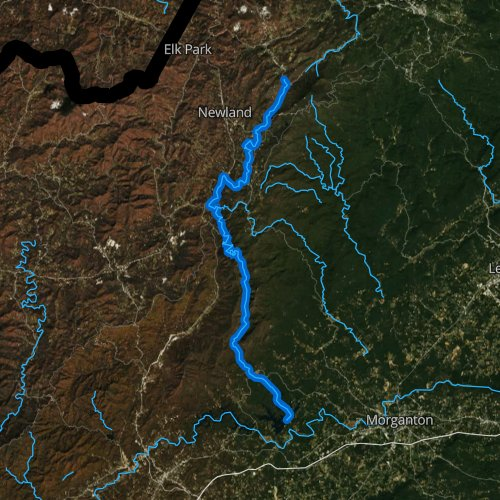 Fly fishing map for Linville River, North Carolina