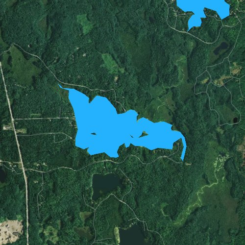Fly fishing map for Little Bearskin Lake, Wisconsin