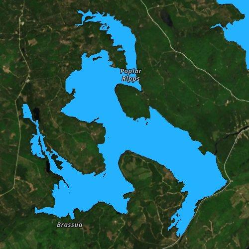 Fly fishing map for Little Brassua Lake, Maine