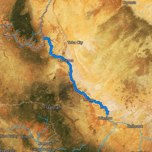 Fly fishing map for Little Colorado River: Lower, Arizona