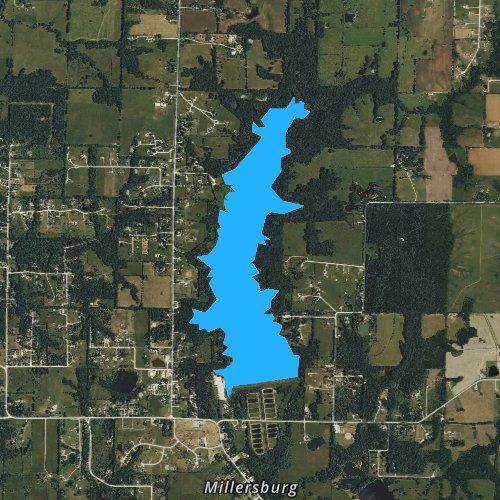 Fly fishing map for Little Dixie Lake, Missouri