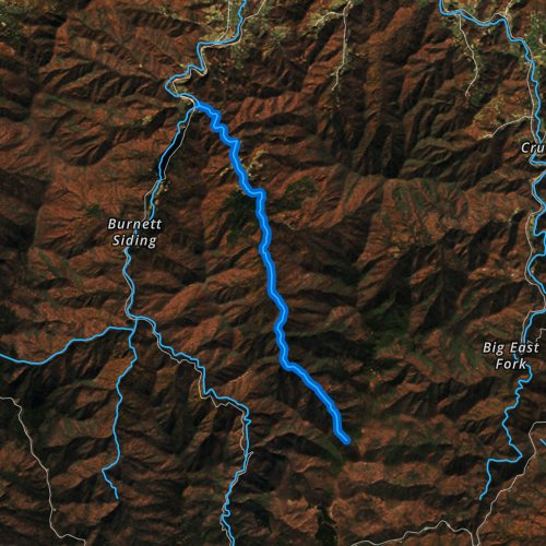 Fly fishing map for Little East Fork Pigeon River, North Carolina