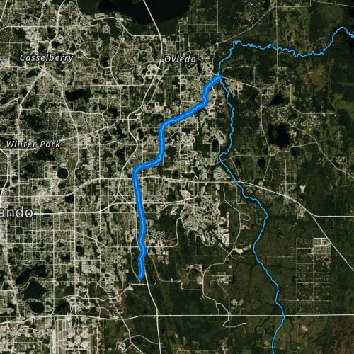 Fly fishing map for Little Econlockhatchee River, Florida