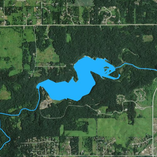 Fly fishing map for Little Falls Lake, Wisconsin