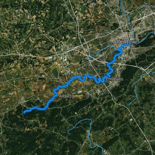 Fly fishing map for Little Lehigh Creek, Pennsylvania