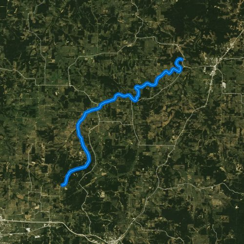 Fly fishing map for Little Piney River, Missouri