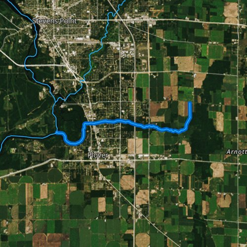 Fly fishing map for Little Plover River, Wisconsin