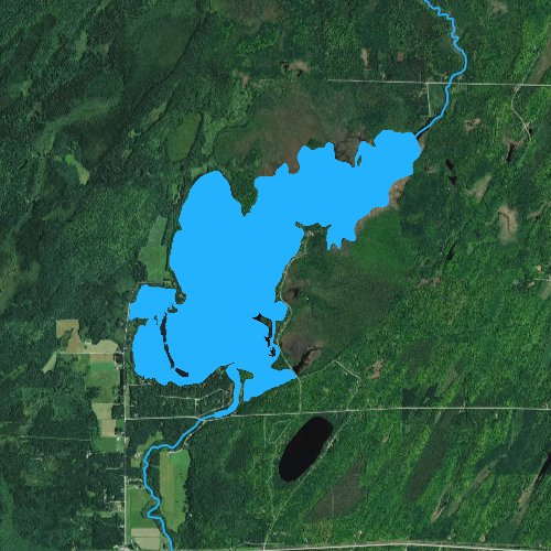 Fly fishing map for Little Rice Lake: Forest, Wisconsin