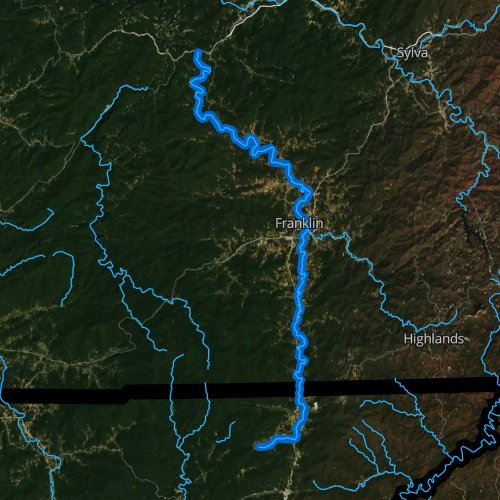 Fly fishing map for Little Tennessee River, North Carolina