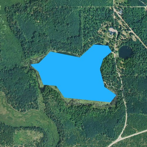 Fly fishing map for Little Tomahawk Lake, Michigan