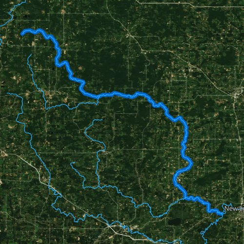 Fly fishing map for Little Wolf River, Wisconsin