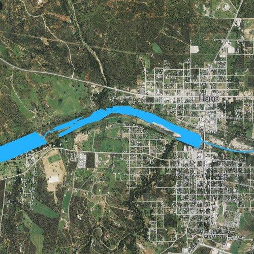 Fly fishing map for Llano River Lake, Texas