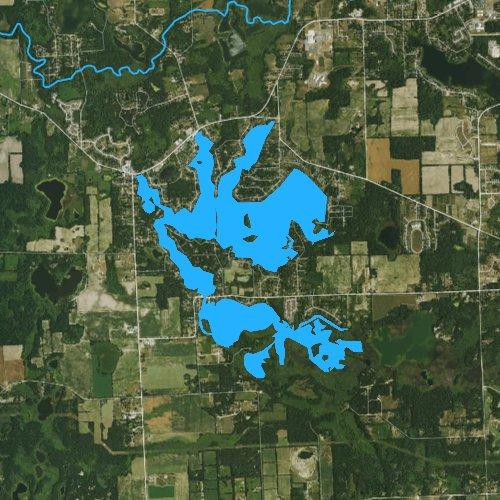Fly fishing map for Lobdell Lake, Michigan