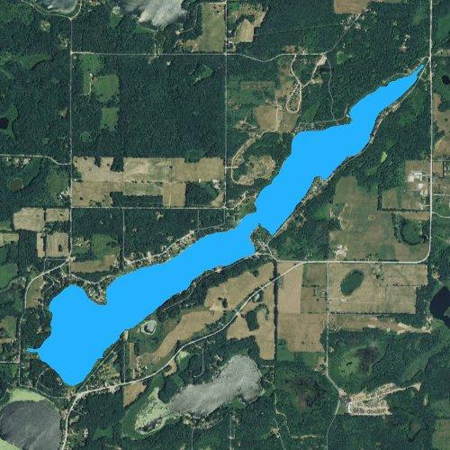 Fly fishing map for Long Lake: Barry, Michigan