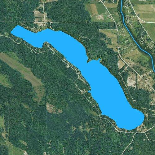 Fly fishing map for Long Lake: Cheboygan, Michigan