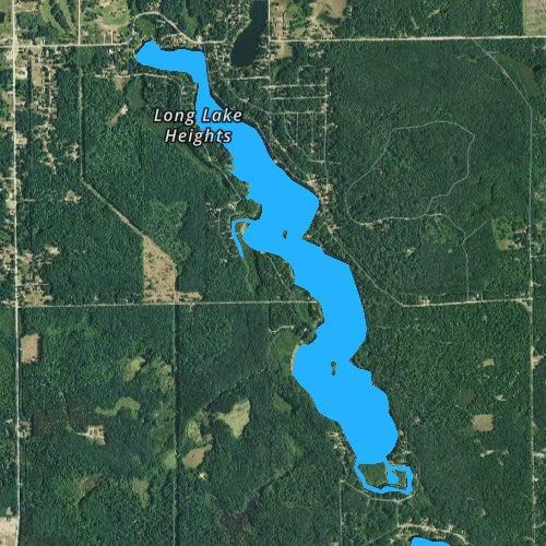 Fly fishing map for Long Lake: Clare, Michigan