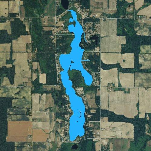 Fly fishing map for Long Lake: Hillsdale, Michigan