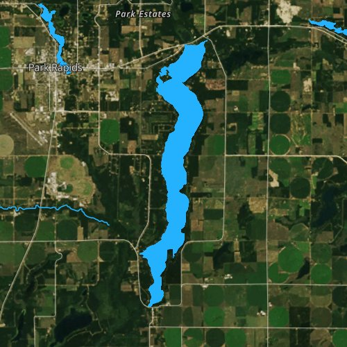 Fly fishing map for Long Lake: Hubbard, Minnesota