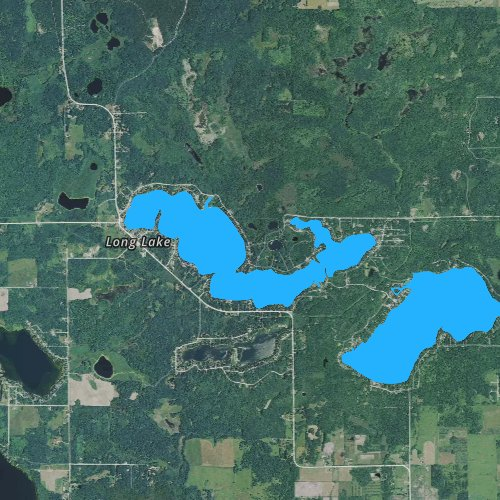 Fly fishing map for Long Lake: Iosco, Michigan