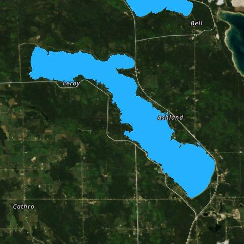 Fly fishing map for Long Lake: Presque Isle, Michigan