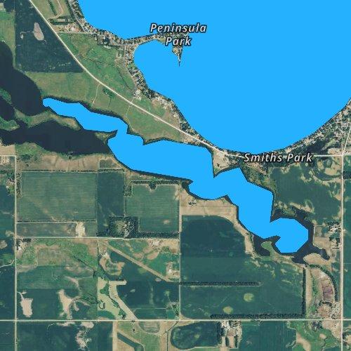Fly fishing map for Long Lake, South Dakota