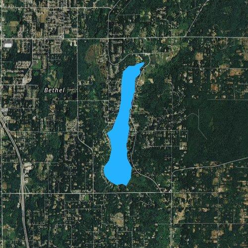 Fly fishing map for Long Lake, Washington