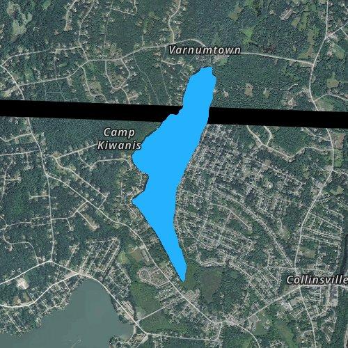 Fly fishing map for Long Pond: Hillsborough, Massachusetts