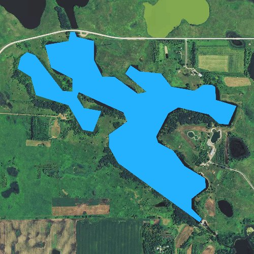 Fly fishing map for Long Tom Lake, Minnesota