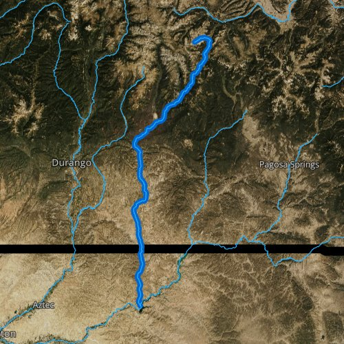 Fly fishing map for Los Pinos River, Colorado