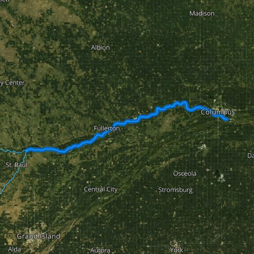 Fly fishing map for Loup River, Nebraska