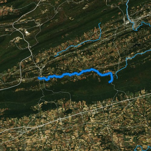 Fly fishing map for Lower Little Swatara Creek, Pennsylvania