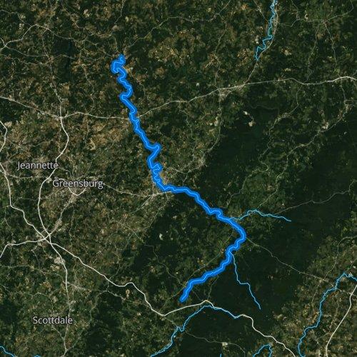 Fly fishing map for Loyalhanna Creek, Pennsylvania