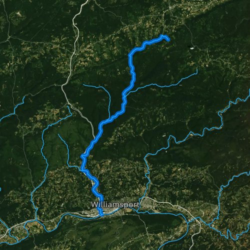 Fly fishing map for Lycoming Creek, Pennsylvania