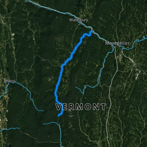 Fly fishing map for Mad River, Vermont