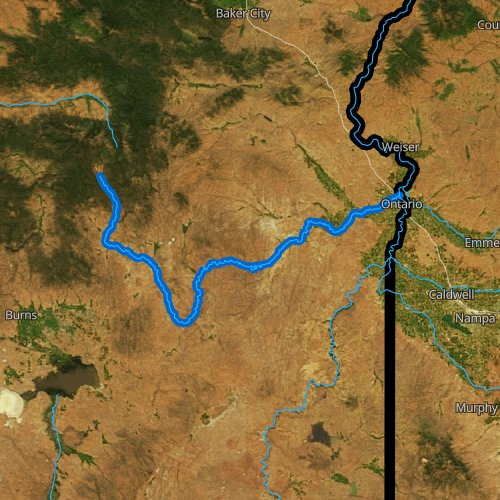 Fly fishing map for Malheur River, Oregon