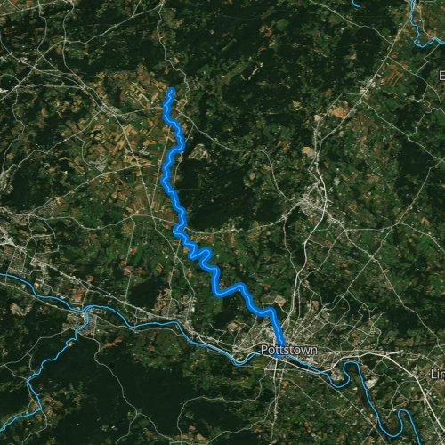 Fly fishing map for Manatawny Creek, Pennsylvania