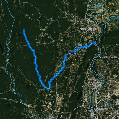 Fly fishing map for Manhan River, Massachusetts
