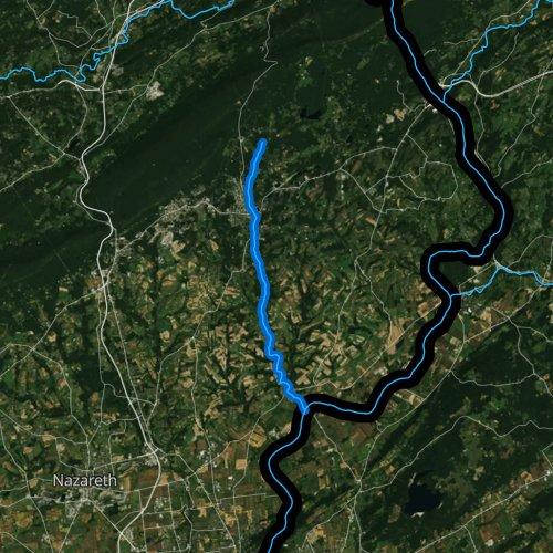 Fly fishing map for Martins Creek, Pennsylvania